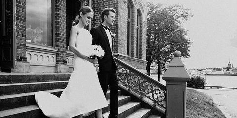 Clothing, Dress, Coat, Trousers, Bridal clothing, Suit, Photograph, Outerwear, Bride, Happy,
