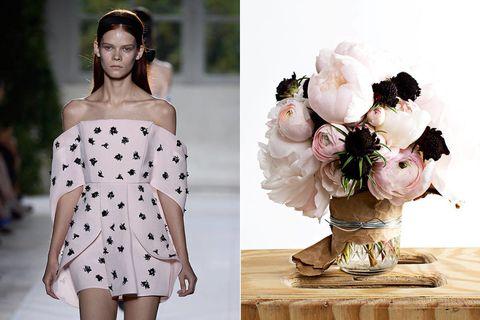 Clothing, Shoulder, White, Petal, Dress, Style, Pattern, Fashion, Day dress, One-piece garment,