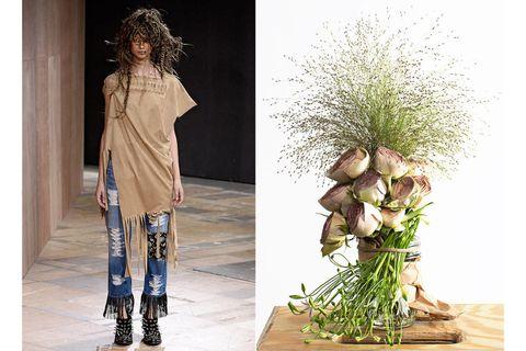 Brown, Outerwear, Style, Bouquet, Street fashion, Beige, Flower Arranging, Boot, Fashion model, Lavender,