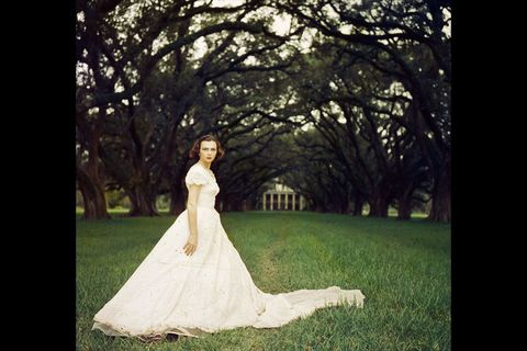 Clothing, Nature, Green, Dress, Photograph, People in nature, Wedding dress, Gown, Formal wear, Bride,