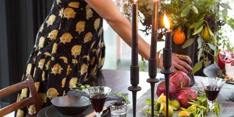 Serveware, Dress, Bangs, Tableware, Black hair, Produce, Candle, Flowerpot, Day dress, Curtain,