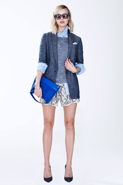 Clothing, Eyewear, Blue, Product, Sleeve, Shoulder, Bag, Human leg, Textile, Joint,