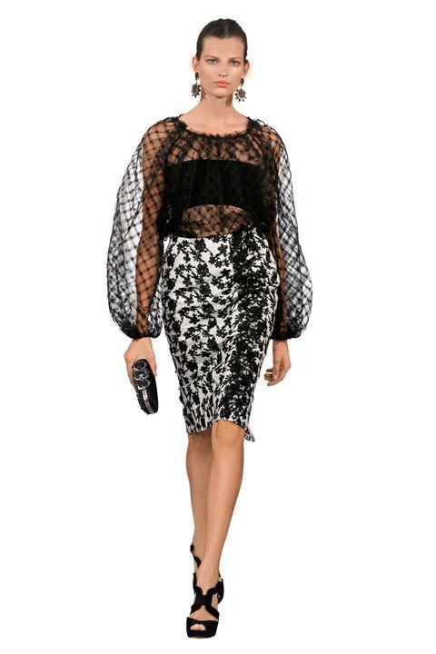 Sleeve, Shoulder, Joint, Style, Dress, Waist, Fashion model, Pattern, Fashion, Neck,