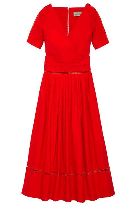 Sleeve, Red, Dress, Textile, White, One-piece garment, Pattern, Orange, Carmine, Maroon,