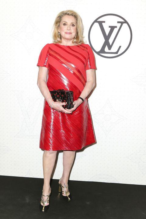 Dress, Sleeve, Shoulder, Joint, Human leg, Red, Style, High heels, One-piece garment, Logo,