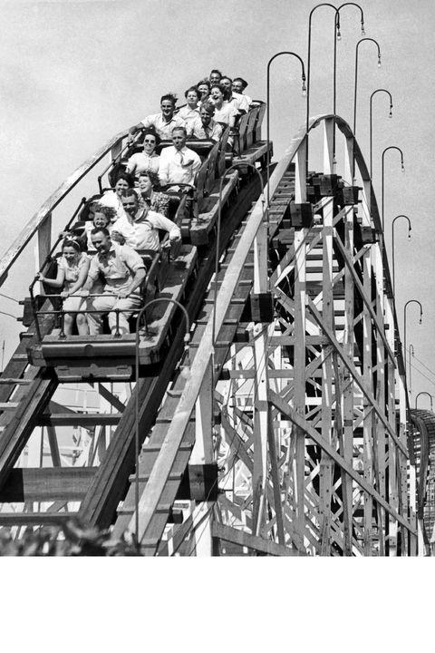 Roller coaster, Recreation, White, Amusement ride, Style, Outdoor recreation, Amusement park, Monochrome photography, Nonbuilding structure, Park,