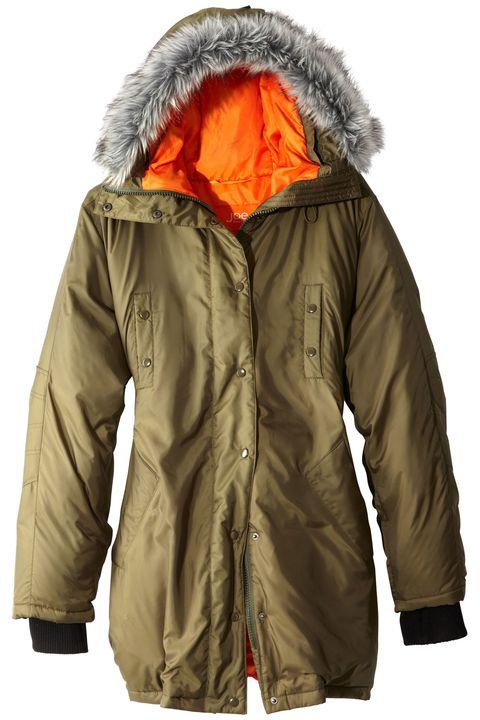 Clothing, Jacket, Sleeve, Textile, Outerwear, Fashion, Orange, Fur clothing, Zipper, Hood,