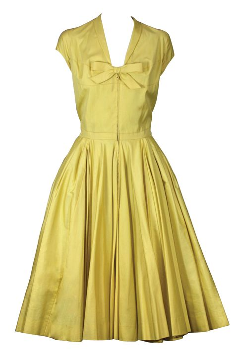 Dress, Yellow, Sleeve, Textile, One-piece garment, Formal wear, Pattern, Day dress, Fashion, Khaki,