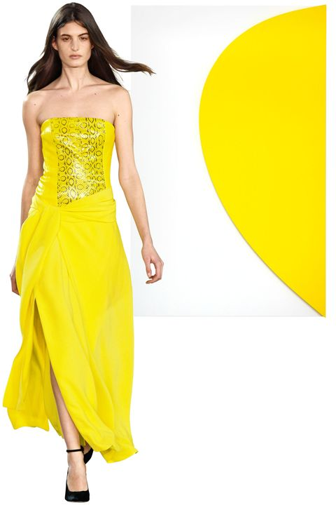 Clothing, Yellow, Shoulder, Joint, Dress, Formal wear, One-piece garment, Waist, Style, Fashion model,