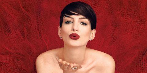 Mouth, Lip, Finger, Skin, Eyelash, Red, Jewellery, Fashion accessory, Wrist, Strapless dress,