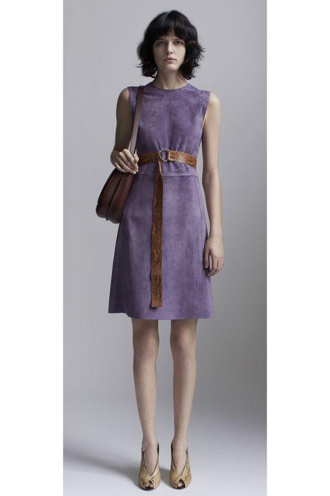 Sleeve, Shoulder, Dress, Joint, Standing, One-piece garment, Style, Purple, Formal wear, Day dress,