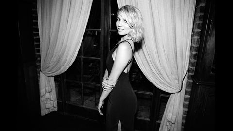 Style, Monochrome, Interior design, Monochrome photography, Long hair, Black-and-white, Flash photography, Curtain, Blond, Window treatment,