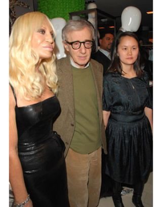 donatella versace woody allen and soon-yi previn at versace menswear launch party at barneys