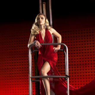 scarlett johansson in a red dress