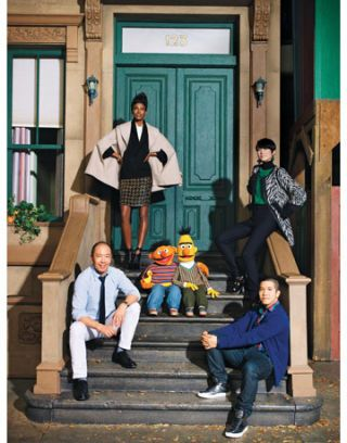 derek lam with thakoon panichgul and bert and ernie