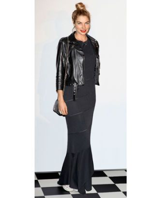 jessica hart maxi dress converse sneakers leather jacket