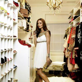 georgina chapman in marchesa dress posing in her closet