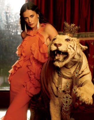 Demi Moore Cover Story April 2008 in John Galliano
