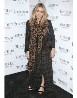 ashley olsen in a leather jacket by the row