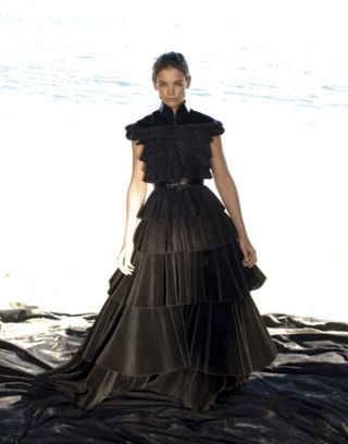 katie holmes modeling a black giles gown