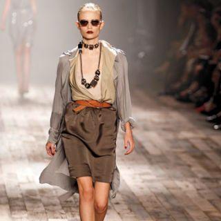 lanvin runway model dressed in new neutrals