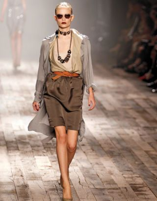 lanvin runway model dressed in new neutrals