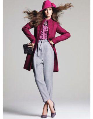 model in pink coat