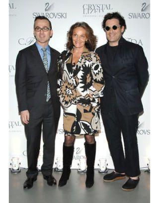Steven Kolb, Diane von Furstenberg, and Isaac Mizrahi at Swarovski Cocktail Party 2008 CFDA Fashion