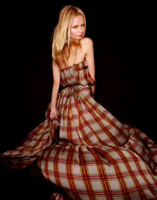 model wearing plaid dress