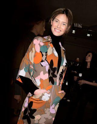 model wearing winter florals