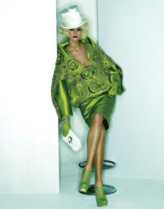 embroidered silk jacket with white hat green gloves and white clutch
