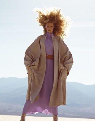 model wearing a pink dress in the desert