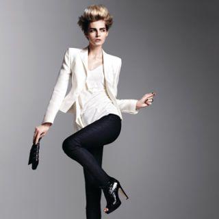 model in skinny black pants