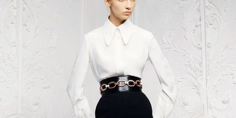 Clothing, Sleeve, Shoulder, Collar, Textile, Standing, Joint, White, Waist, Formal wear,