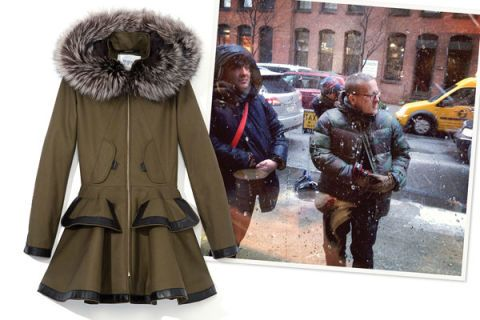 Textile, Winter, Jacket, Fur clothing, Street fashion, Natural material, Fur, Beige, Overcoat, Animal product,