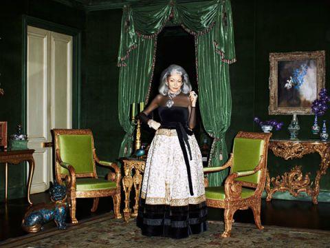 Room, Furniture, Dress, Interior design, Sitting, Picture frame, Interior design, Gown, Curtain, Costume,