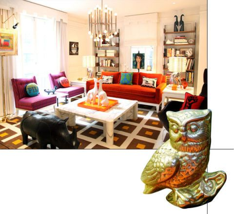 Owl, Lighting, Room, Interior design, Bird of prey, Great horned owl, Furniture, Table, Bird, Couch,