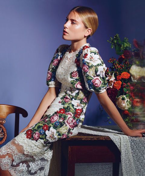 Fashion, Fashion model, Day dress, Model, Photo shoot, Makeover, Floral design, Rose, One-piece garment, Flower Arranging,