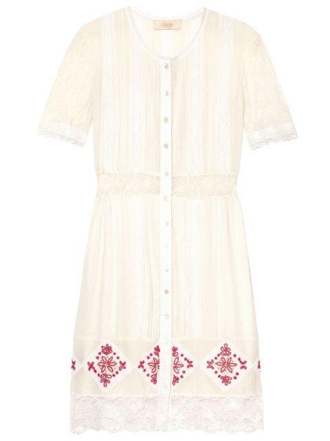 Product, Sleeve, Textile, White, Pattern, Fashion, Dress, Peach, Beige, One-piece garment,