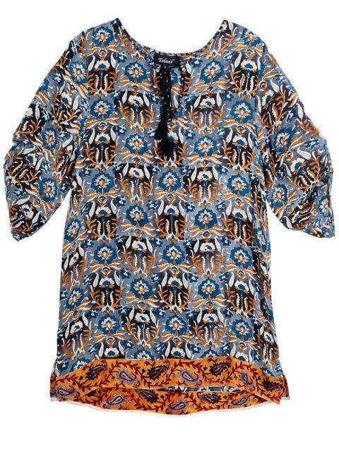 Blue, Sleeve, Pattern, Textile, Aqua, Electric blue, Orange, Fashion, Teal, Turquoise,