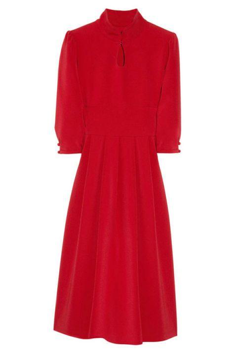 Sleeve, Textile, Red, Dress, One-piece garment, Maroon, Carmine, Fashion, Pattern, Magenta,