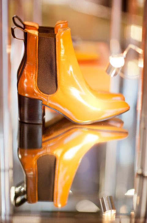 Brown, Amber, Orange, Tan, High heels, Material property, Clog, Leather, Boot, Still life photography,