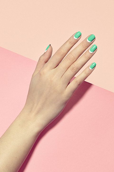 Finger, Skin, Nail, Pink, Manicure, Nail care, Colorfulness, Nail polish, Teal, Beige,