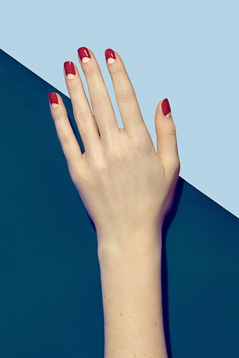 Blue, Finger, Skin, Joint, Red, Nail, Nail care, Azure, Manicure, Nail polish,