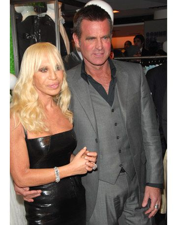 donatella versace and paul beck at versace menswear launch party at barneys