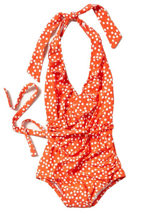Product, Orange, Red, Pattern, Neck, Peach, Necklace, Polka dot, One-piece garment, Day dress,