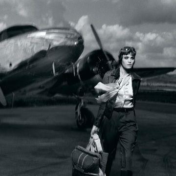woman near plane