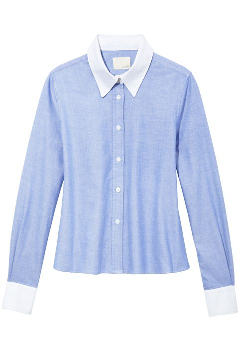 Clothing, Blue, Product, Collar, Dress shirt, Sleeve, Textile, White, Pattern, Electric blue,