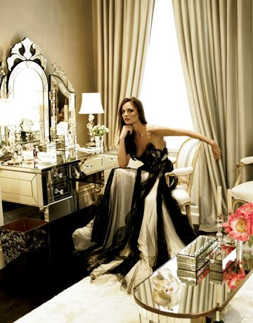 georgina chapman in marchesa gown sitting at vanity