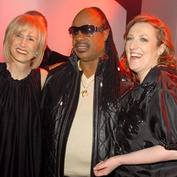 stevie wonder, valerie salembier, and glenda bailey at the highline ballroom celebrating harpers bazaar 140th anniversary party.